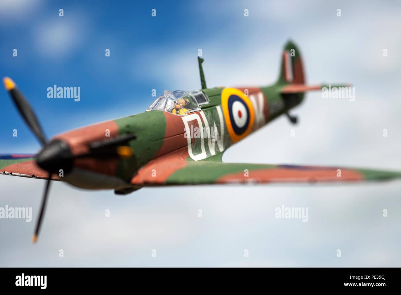 Airfix model Spitfire - Stock Image