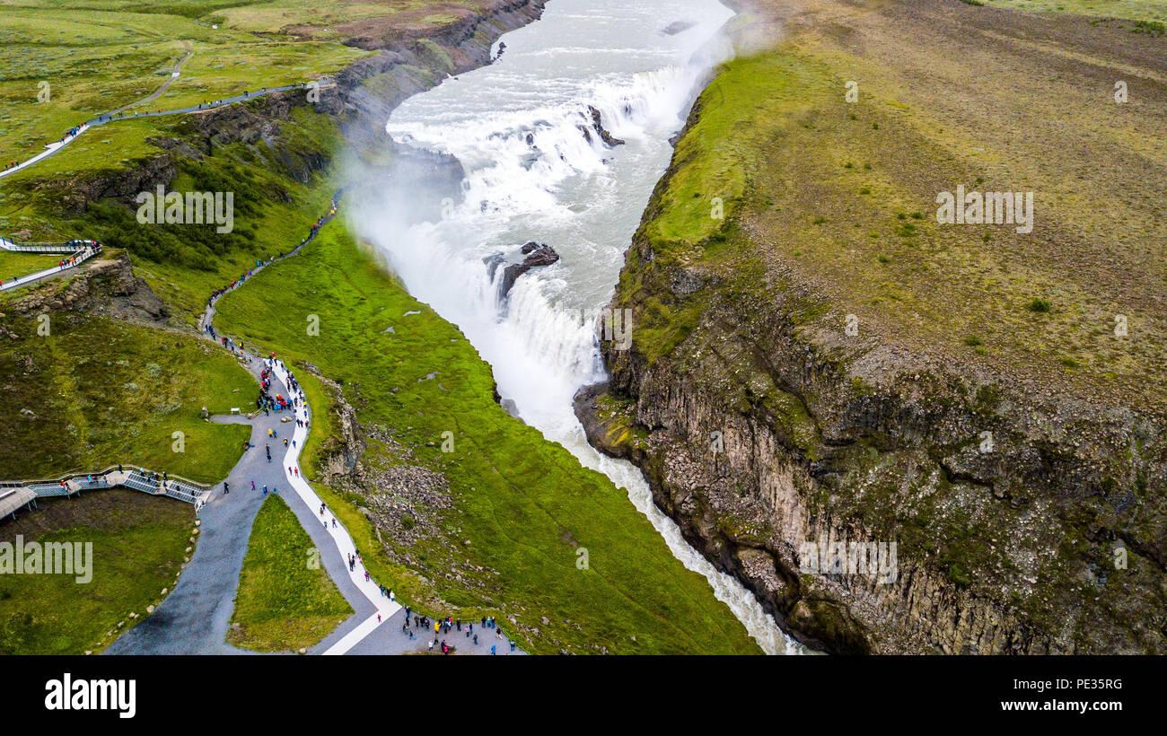 Gullfoss waterfall, Golden Triangle, Iceland - Stock Image