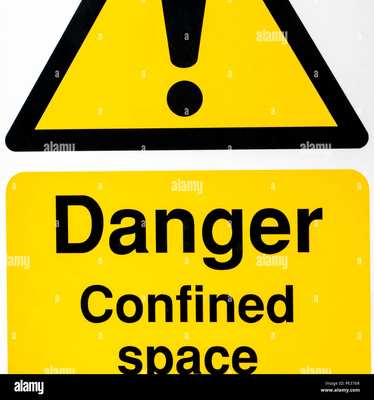 Yellow and black danger sign warning of a confined space - Stock Image