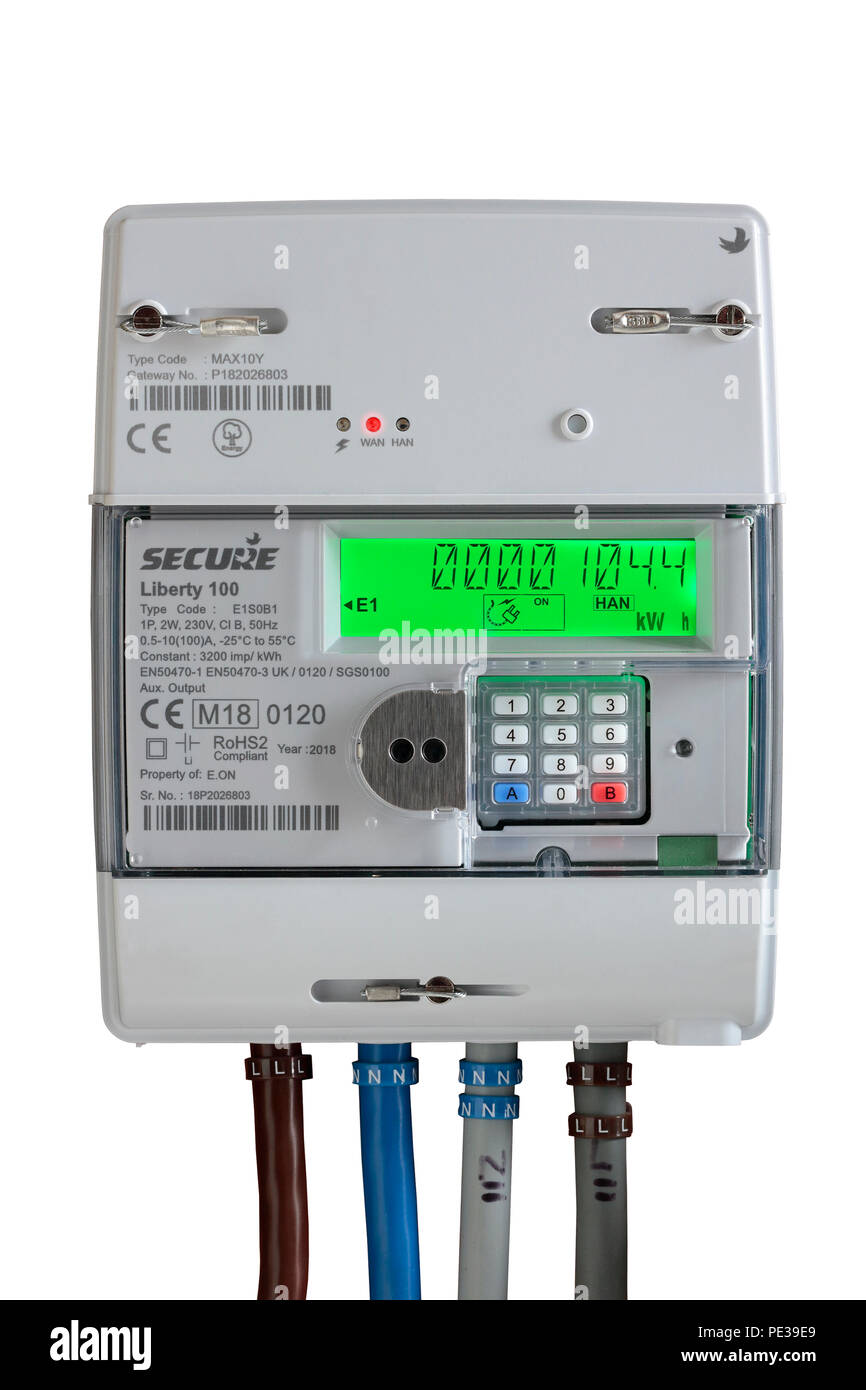 Electricity smart meter isolated on a white background - Stock Image