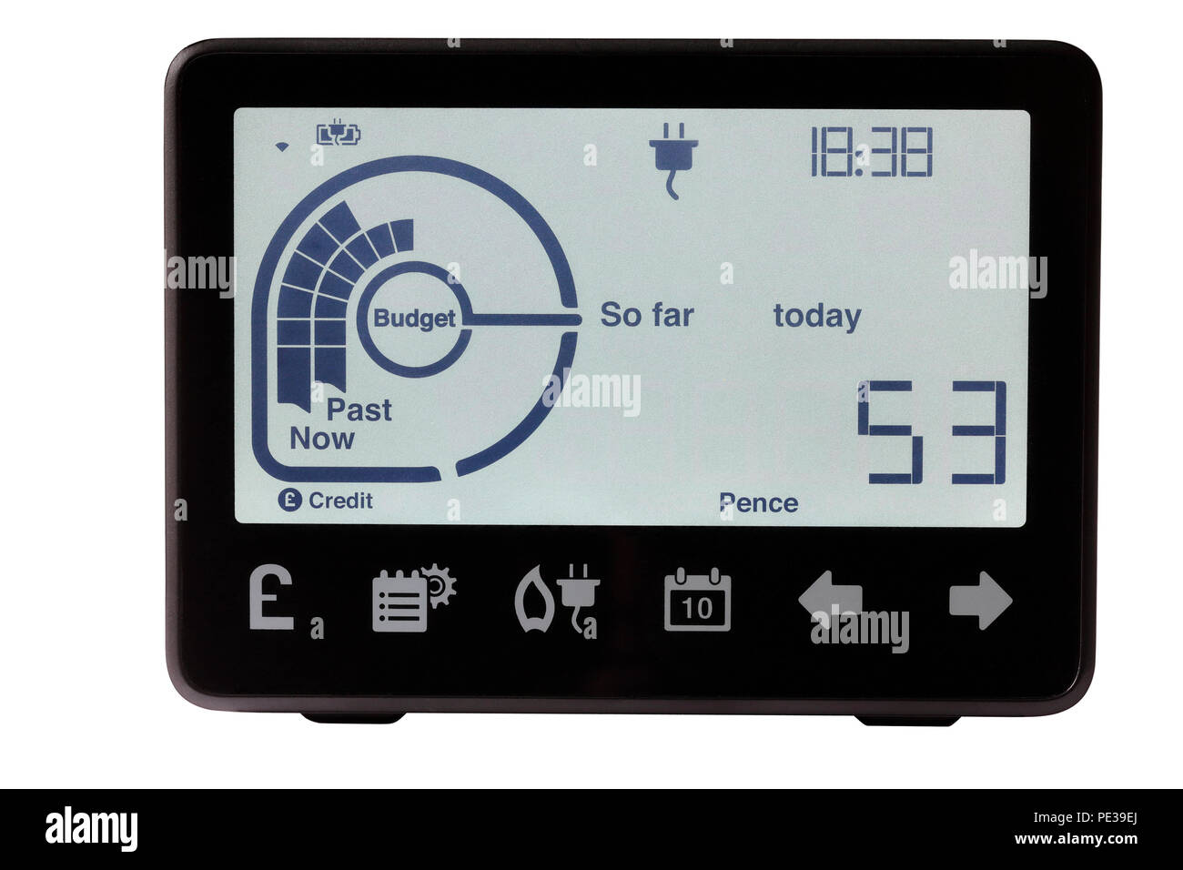 Smart Meter In House Display isolated on a white background - Stock Image