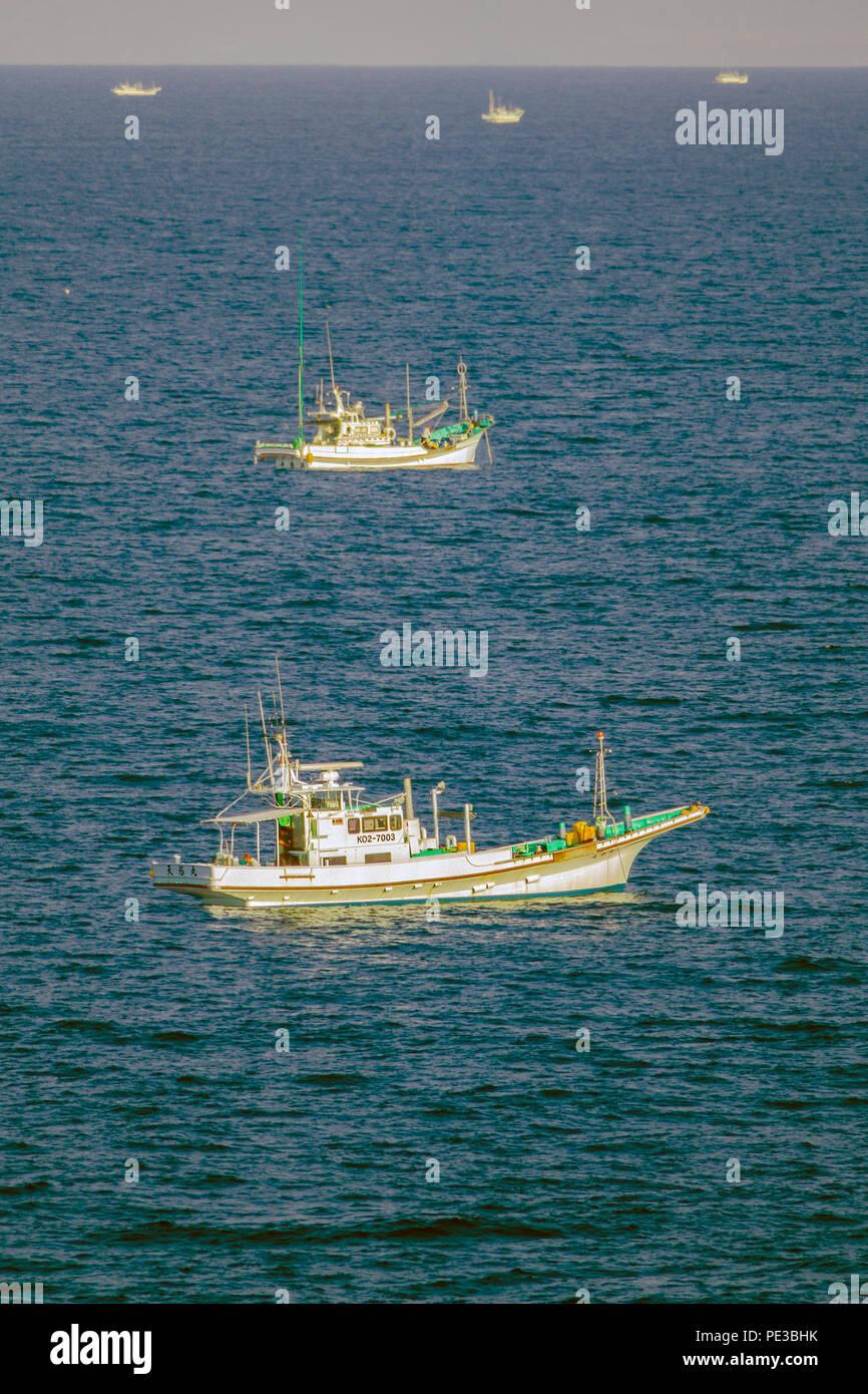 Fishing Boats in Hiroshima Harbor Seto Inland Sea Japan Asia - Stock Image