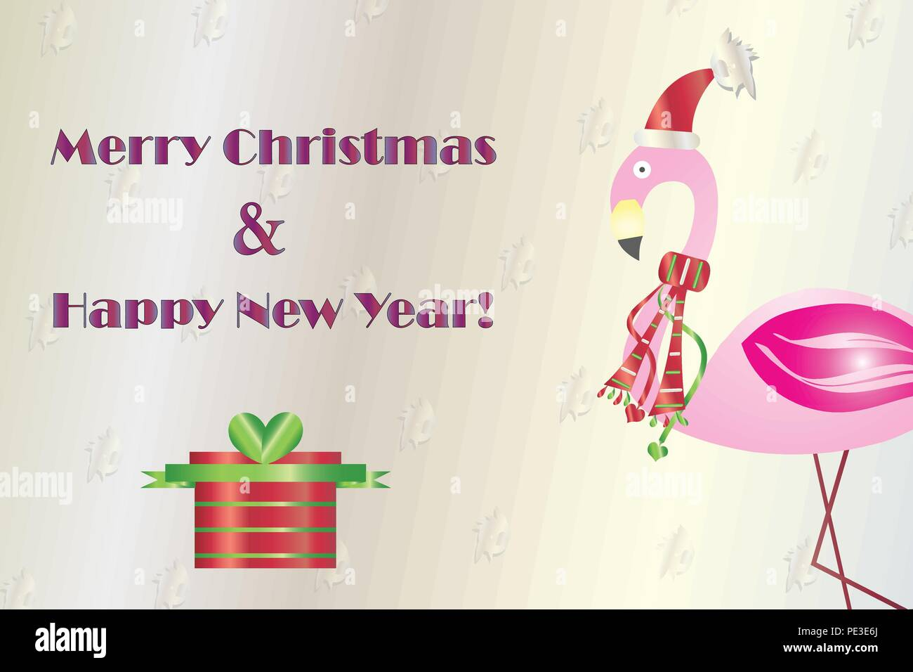 merry christmas and happy new year card with flamingo vector ...