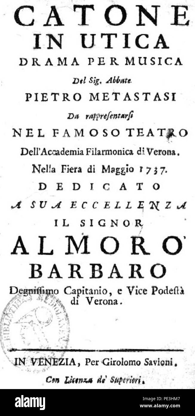 Antonio Vivaldi - Catone in Utica - titlepage of the libretto - Venice 1737. - Stock Image