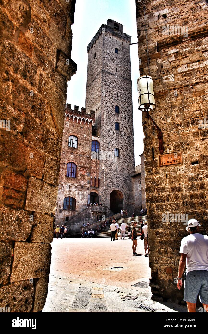 A view of one of the towers in San Gimignano, Italy - Stock Image
