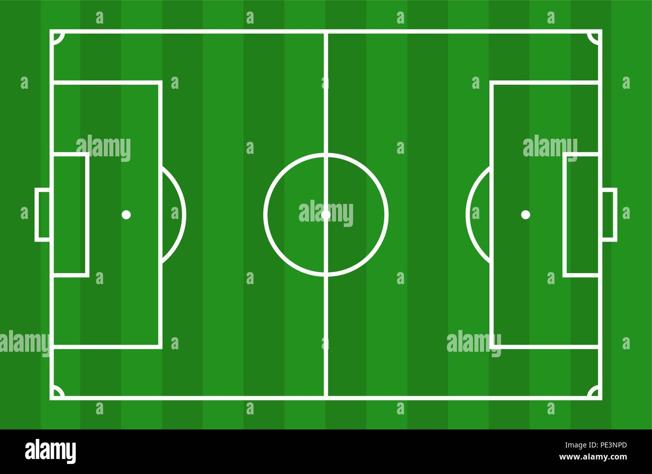 Soccer field - View from above - Stock Vector