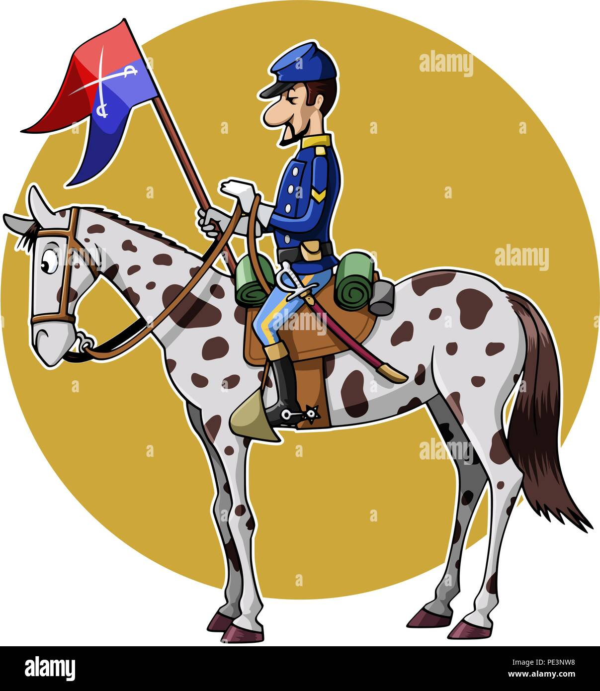 Cartoon-style illustration: United States Cavalry soldier riding his horse - Stock Vector