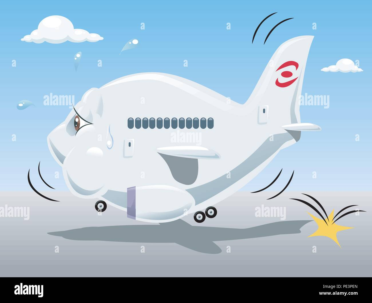 Vector illustration of a tired bouncing airplane, representing economic crisis of many air transportation companies. Cartoon style - Stock Vector