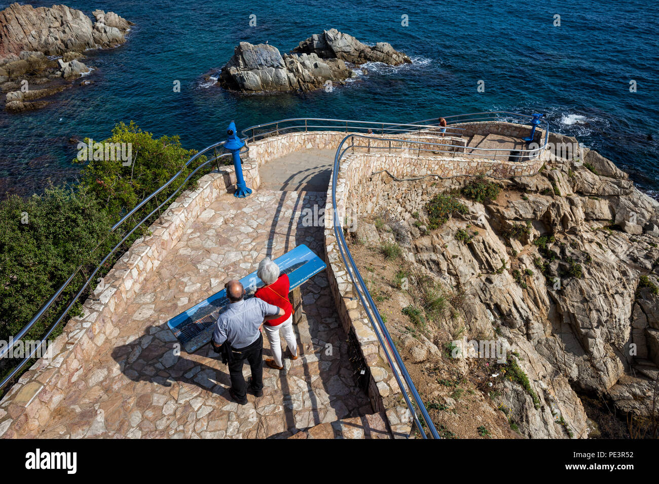 Lloret De Mar Spain Map.Cliff Stone Path With Stairs To The Sea In Lloret De Mar Town On