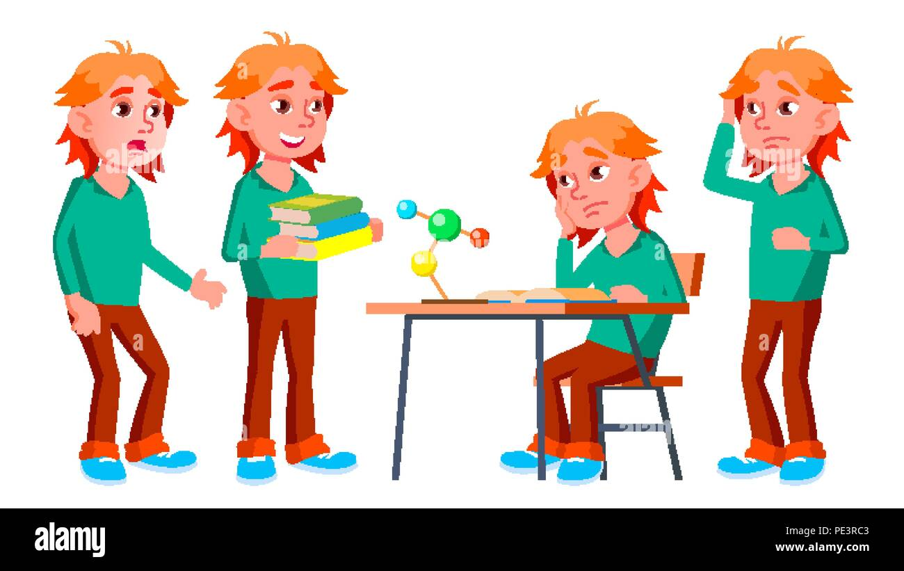 Boy Schoolboy Kid Poses Set Vector. High School Child. Teenage. Beauty, Lifestyle, Friendly. For Postcard, Announcement, Cover Design. Isolated Cartoon Illustration - Stock Image