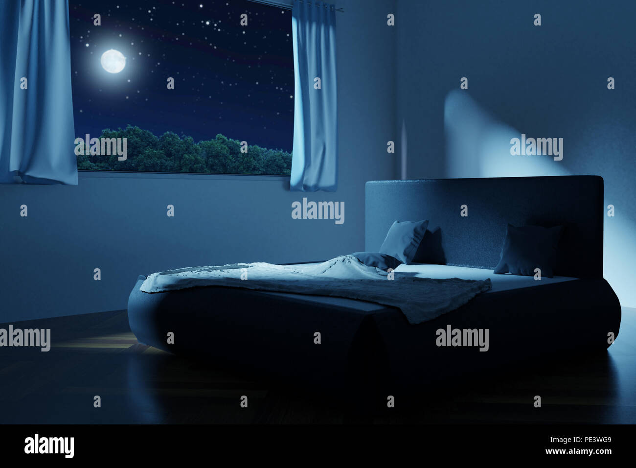 3d Rendering Of Bedroom With Unmade And Rumpled Bed In The Full Moon Night Stock Photo Alamy