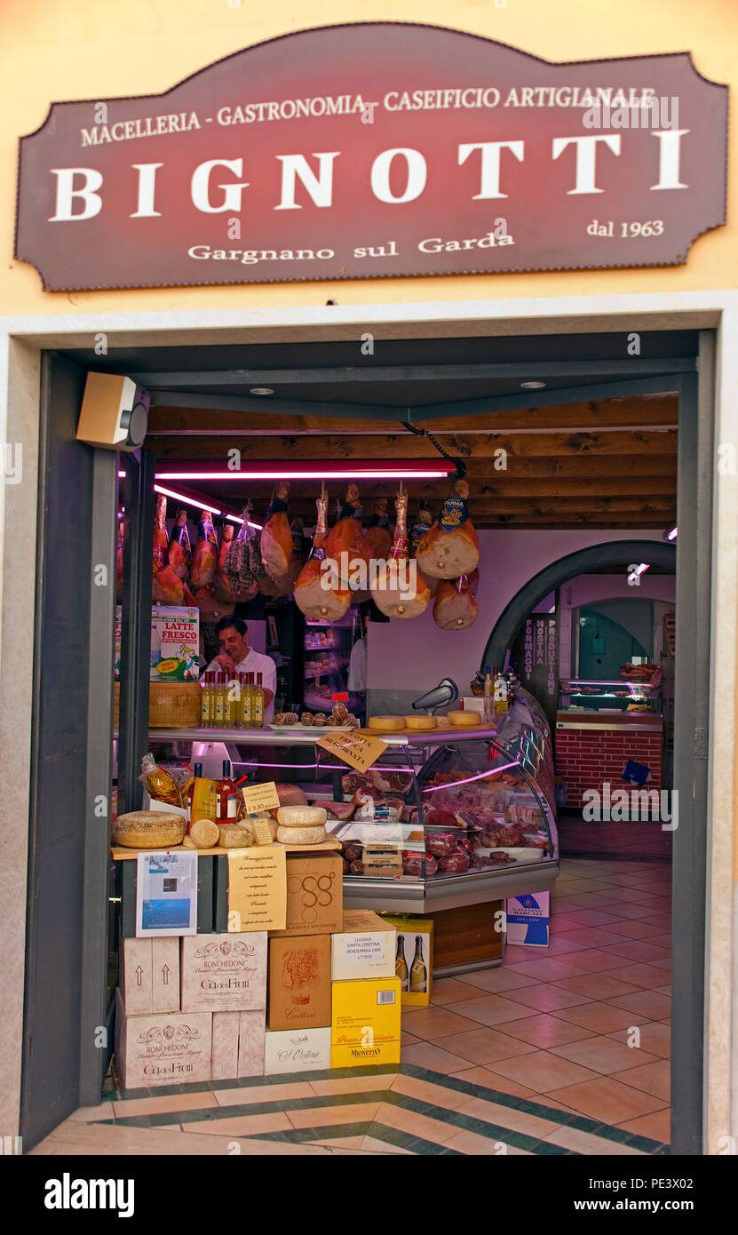Local specialities in a shop at Gargnano, province Brescia, Garda lake, Lombardy, Italy - Stock Image