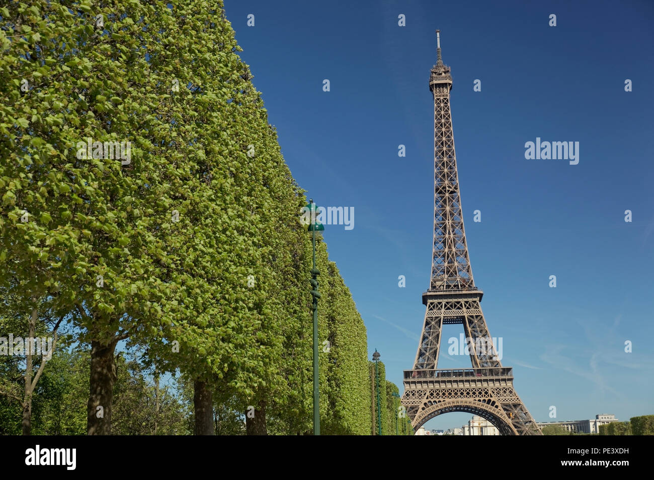 The Eiffel Tower shot from different locations and angles with close ups and long shots, Paris, France. Stock Photo
