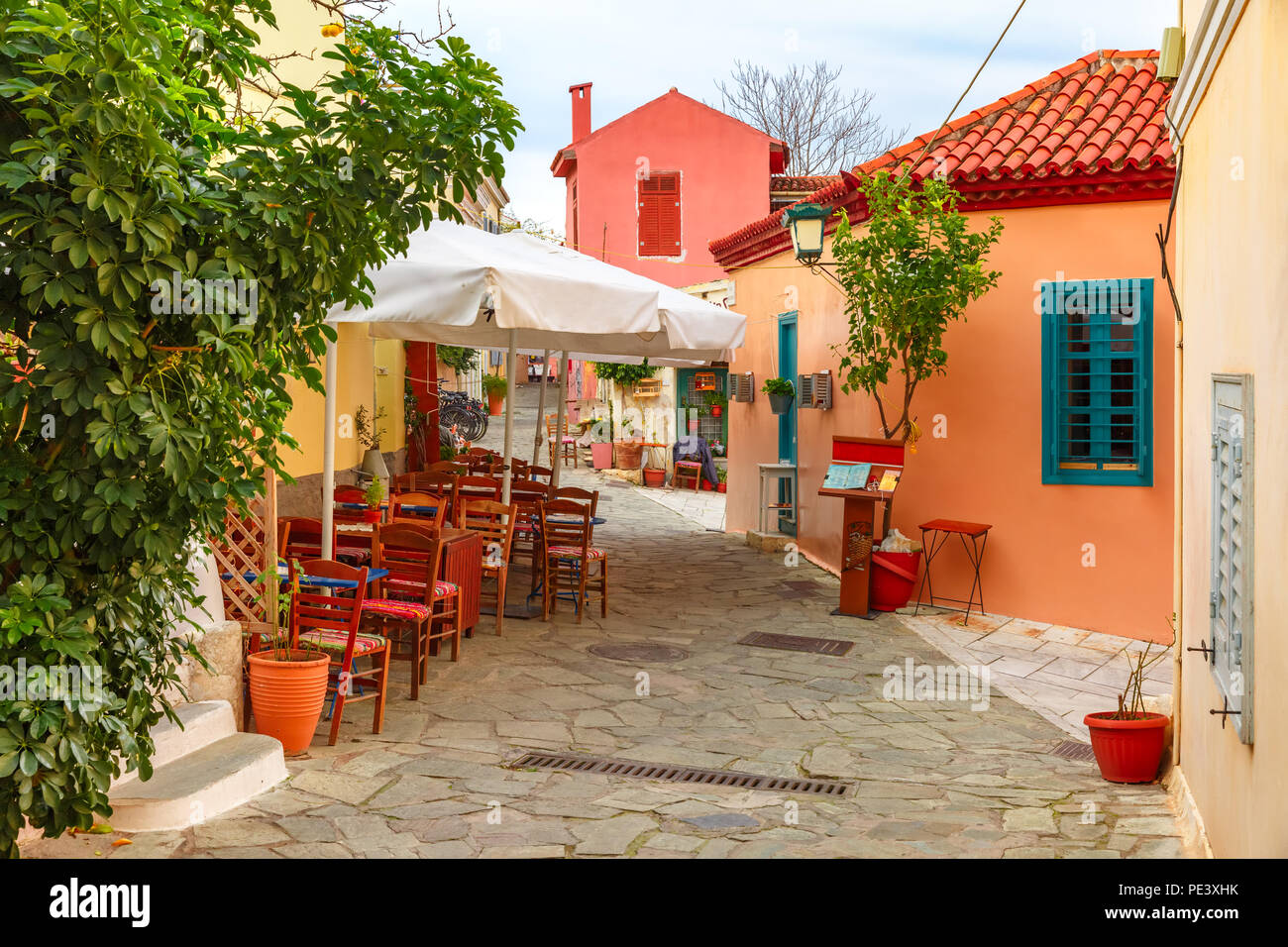 Famous Placa district in Athens, Greece - Stock Image