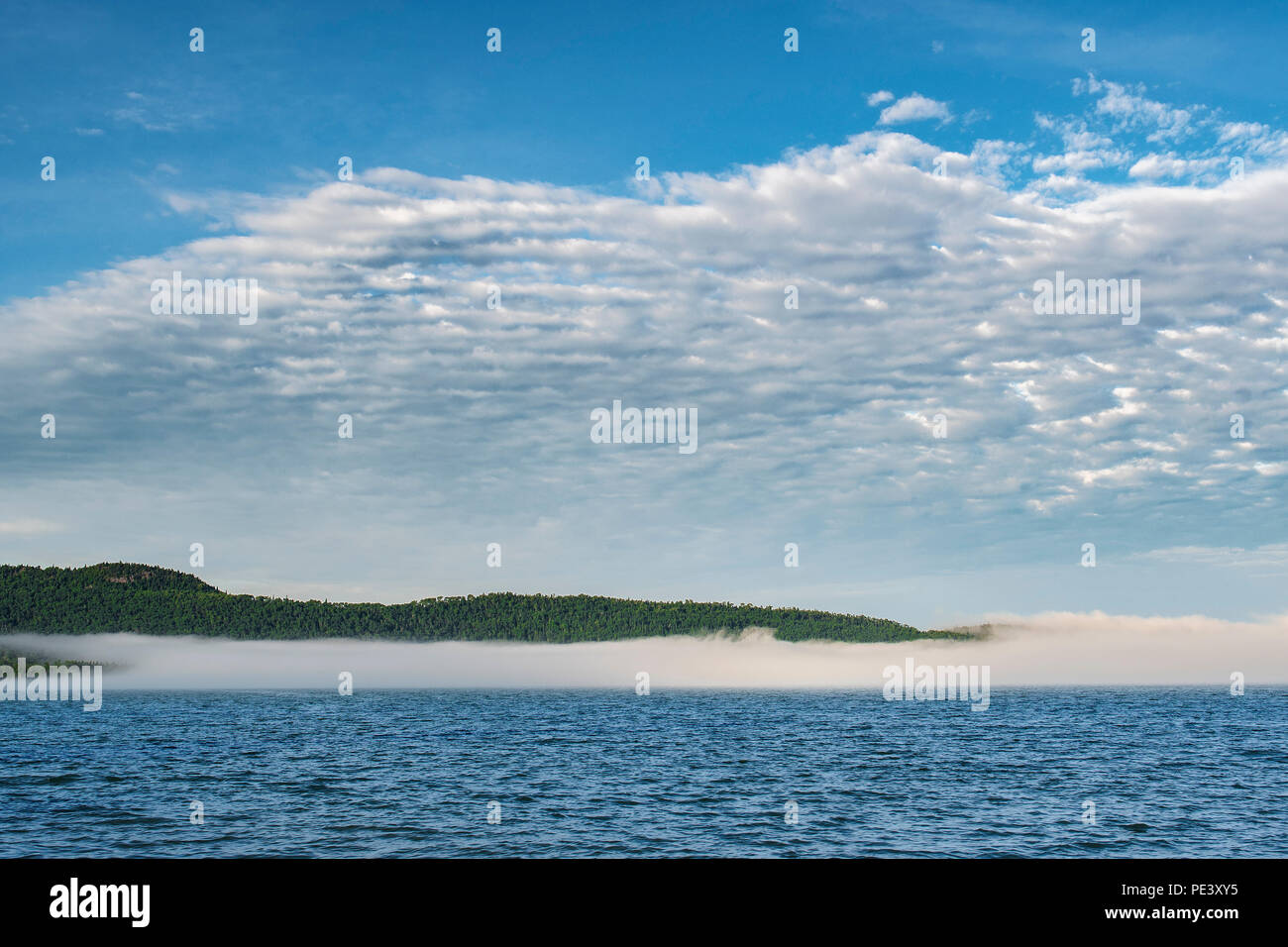 Fog, Grand Portage Bay, Summer, Grand Portage Indian Reservation, Cook Co, MN, USA, by Dominique Braud/Dembinsky Photo Assoc Stock Photo