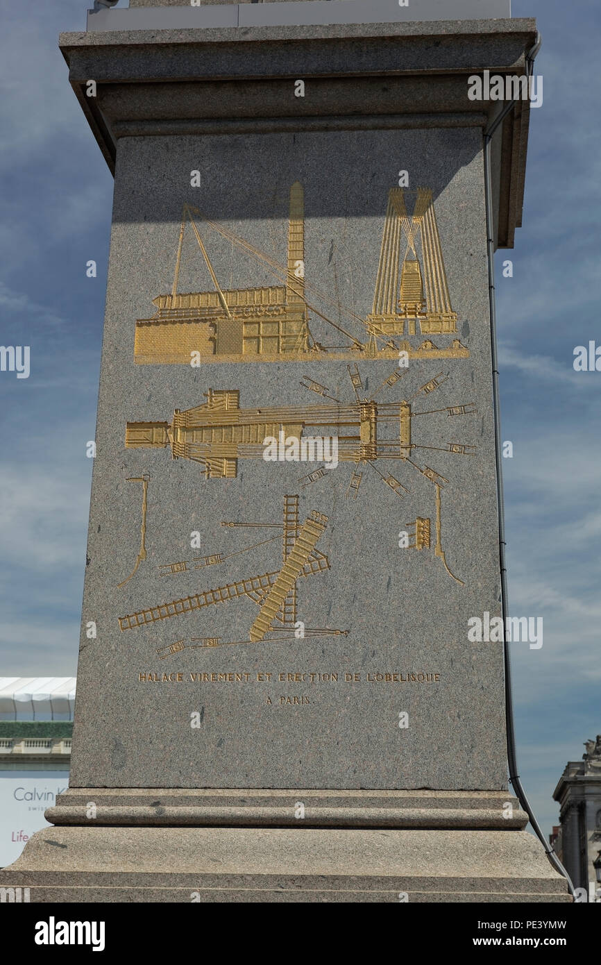 Place de la Concorde in historical part of Paris city. Obelisk of Luxor close up. - Stock Image