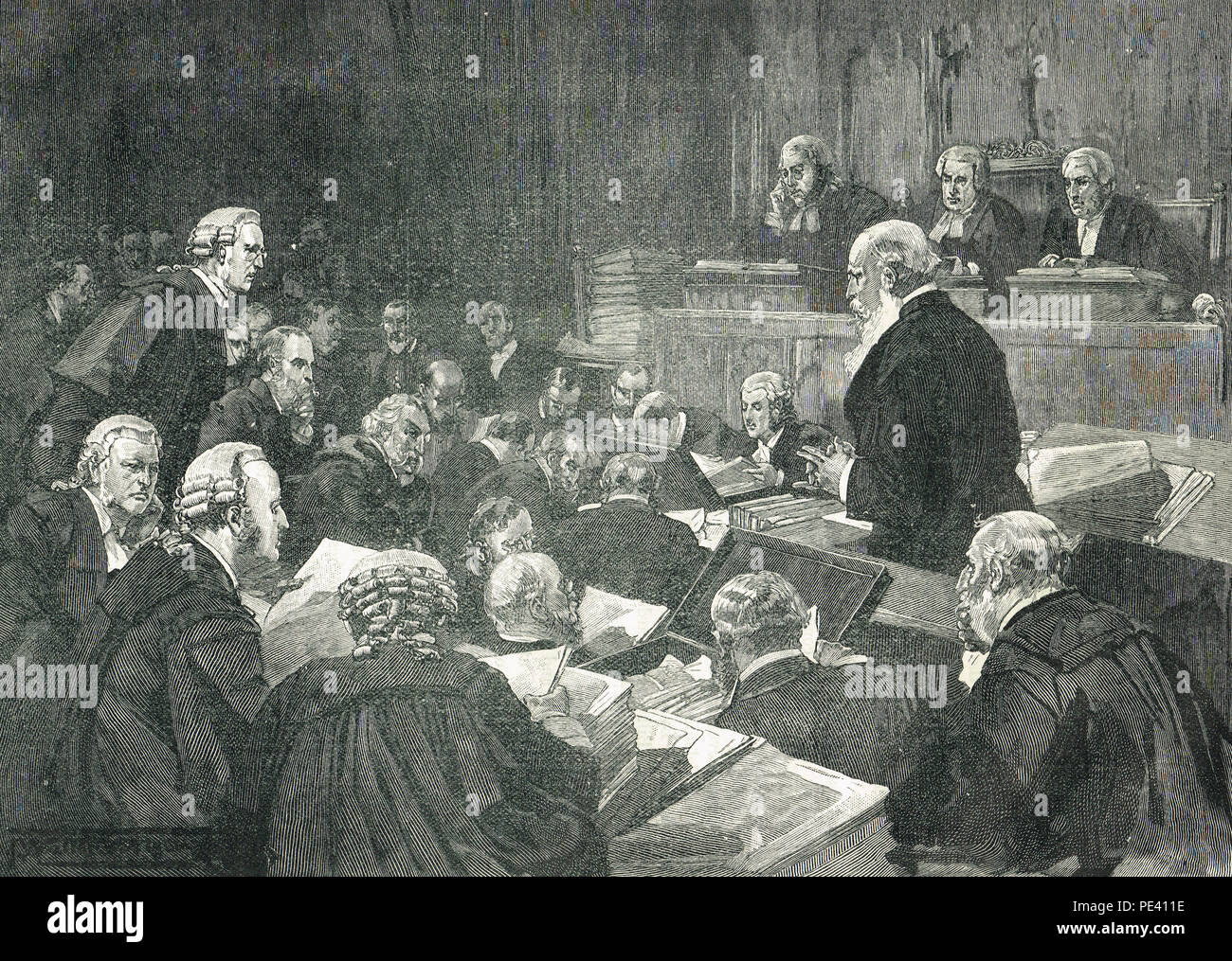 Richard Pigott, breaking down under cross examination, during the Parnell Commission, February 1889 - Stock Image