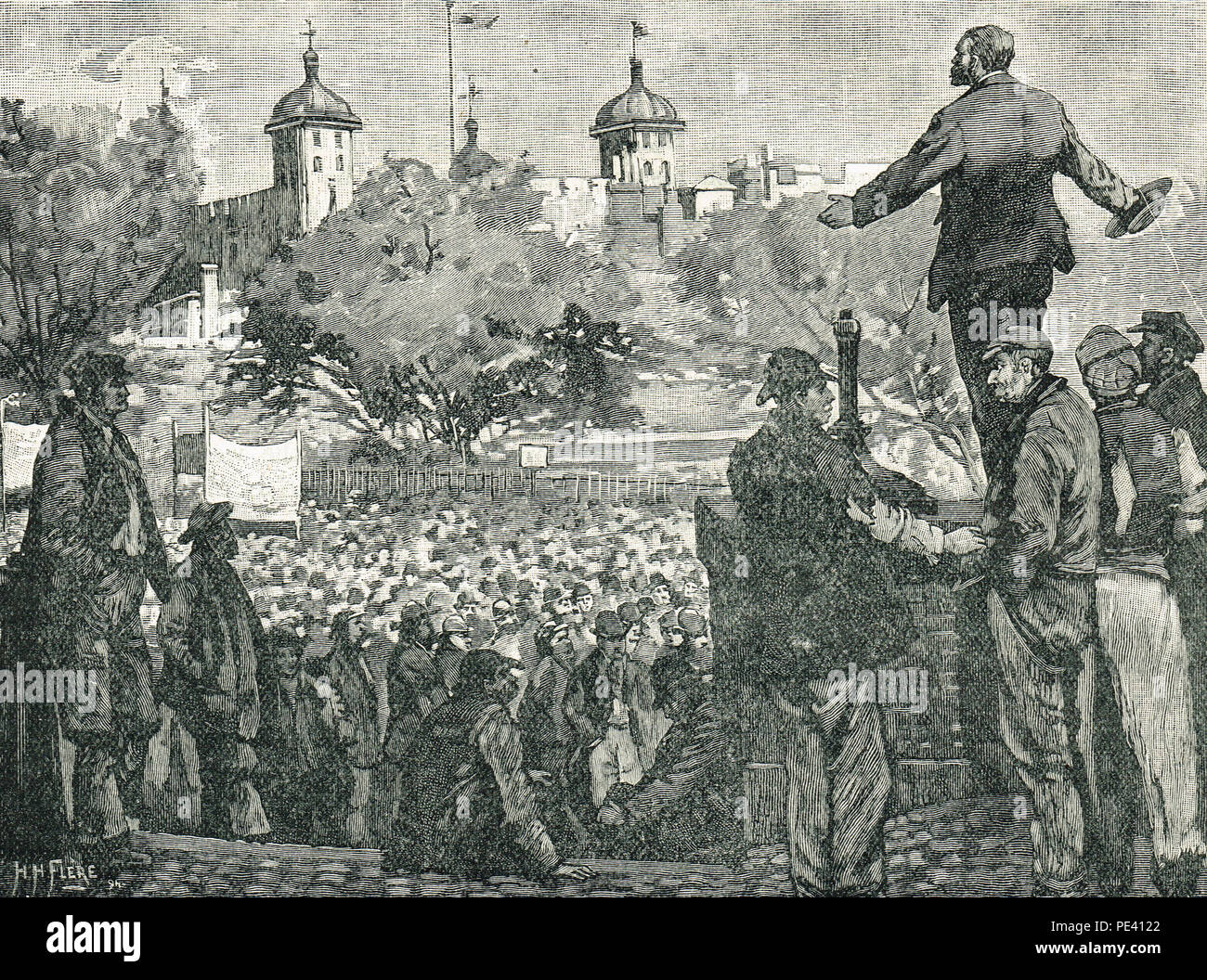 John Burns addressing a meeting of dockers, London dock strike of 1889, Tower Hill, England - Stock Image