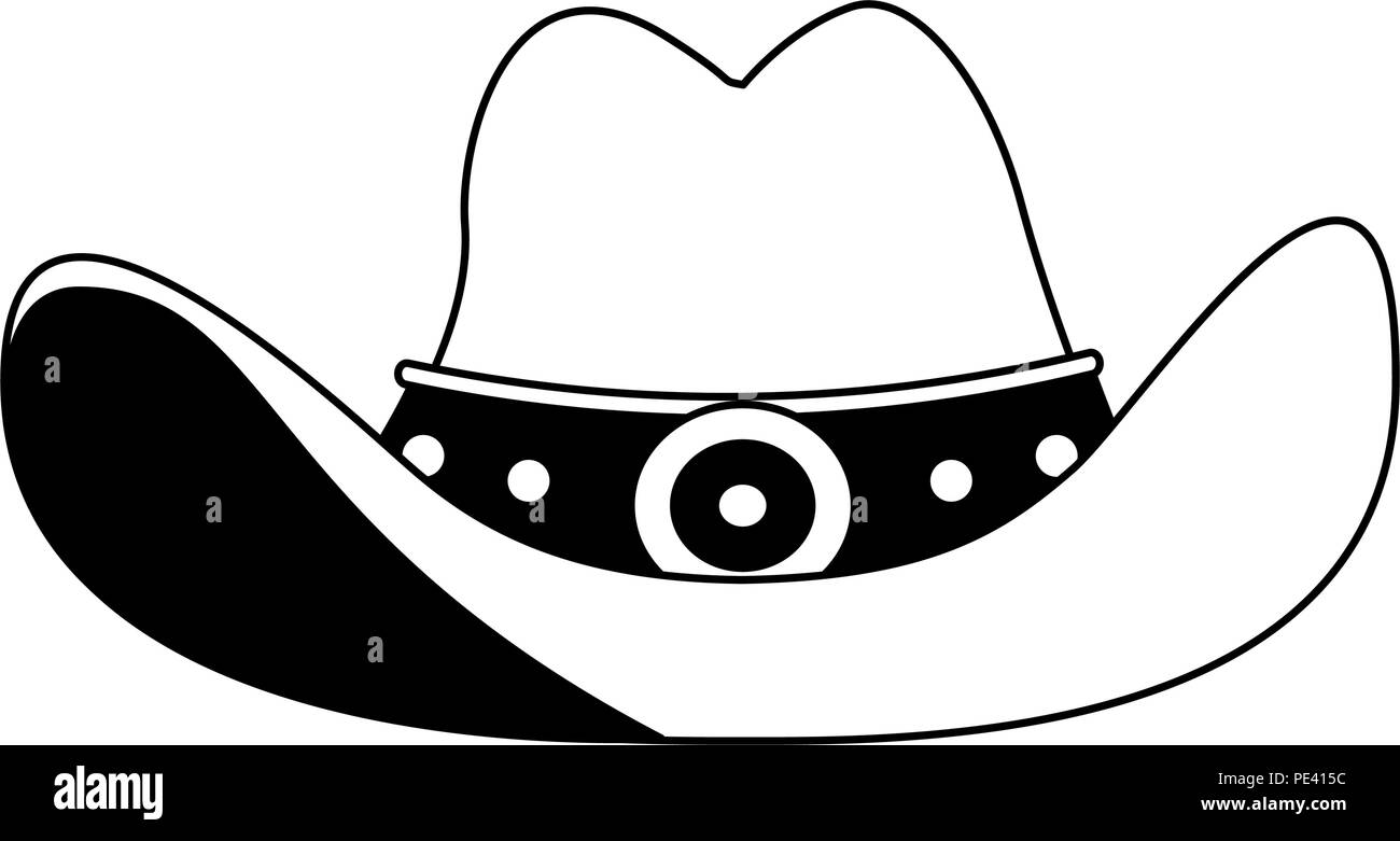 e1cb8a8832312 Cowboy hat symbol in black and white - Stock Vector