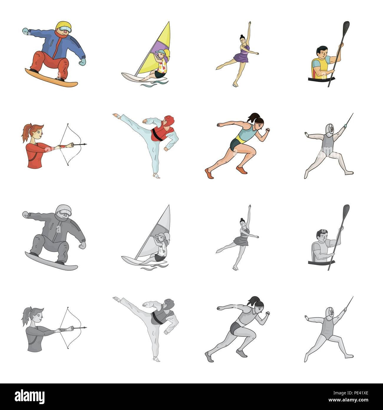 Archery, karate, running, fencing. Olympic sport set collection icons in cartoon,monochrome style vector symbol stock illustration . - Stock Vector