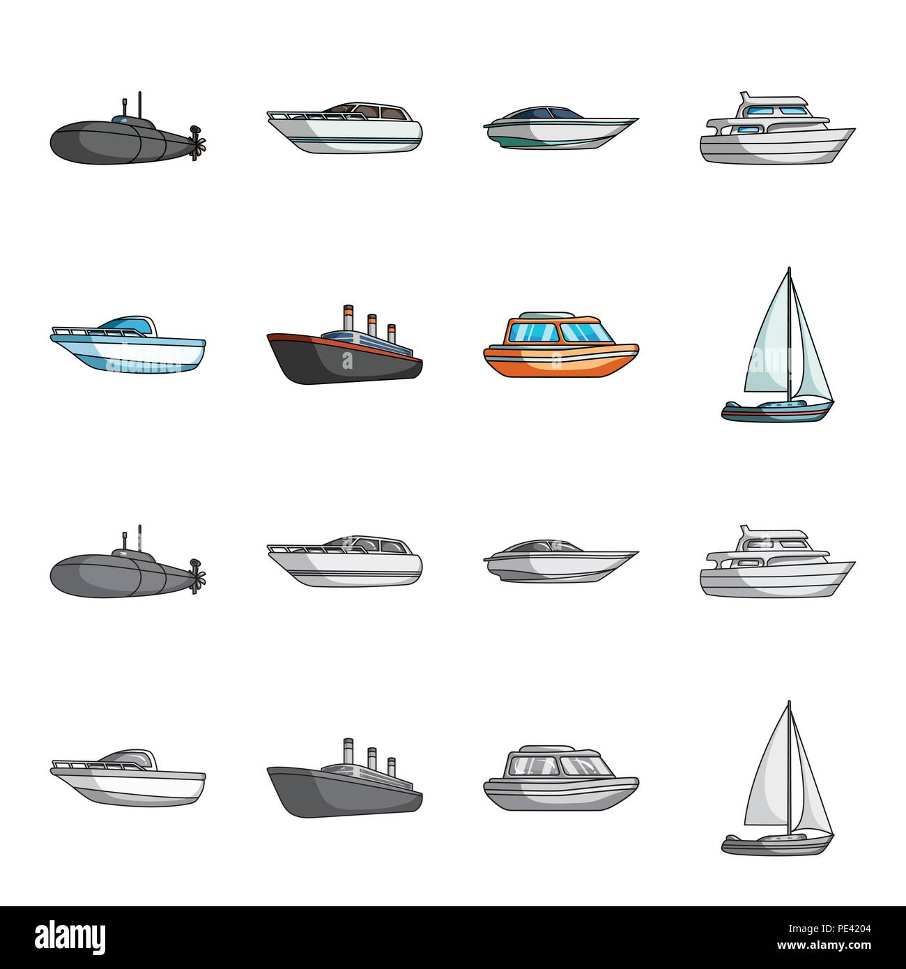 Protection boat, lifeboat, cargo steamer, sports yacht.Ships and water transport set collection icons in cartoon,monochrome style vector symbol stock  - Stock Vector