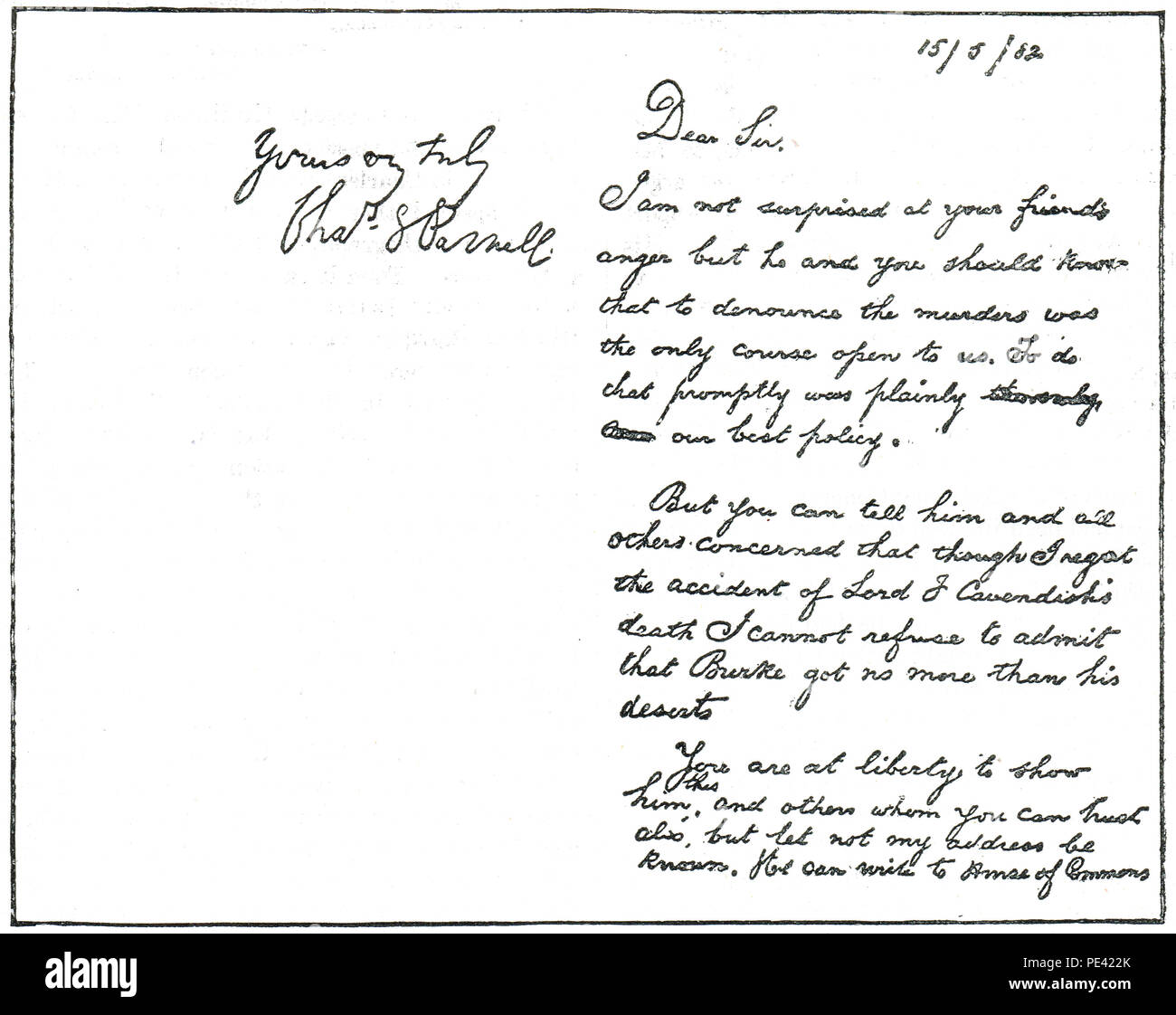 Reduced facsimile of the Times letter alleged to have been written by Charles Parnell linking him to the Phoenix Park Murders - Stock Image