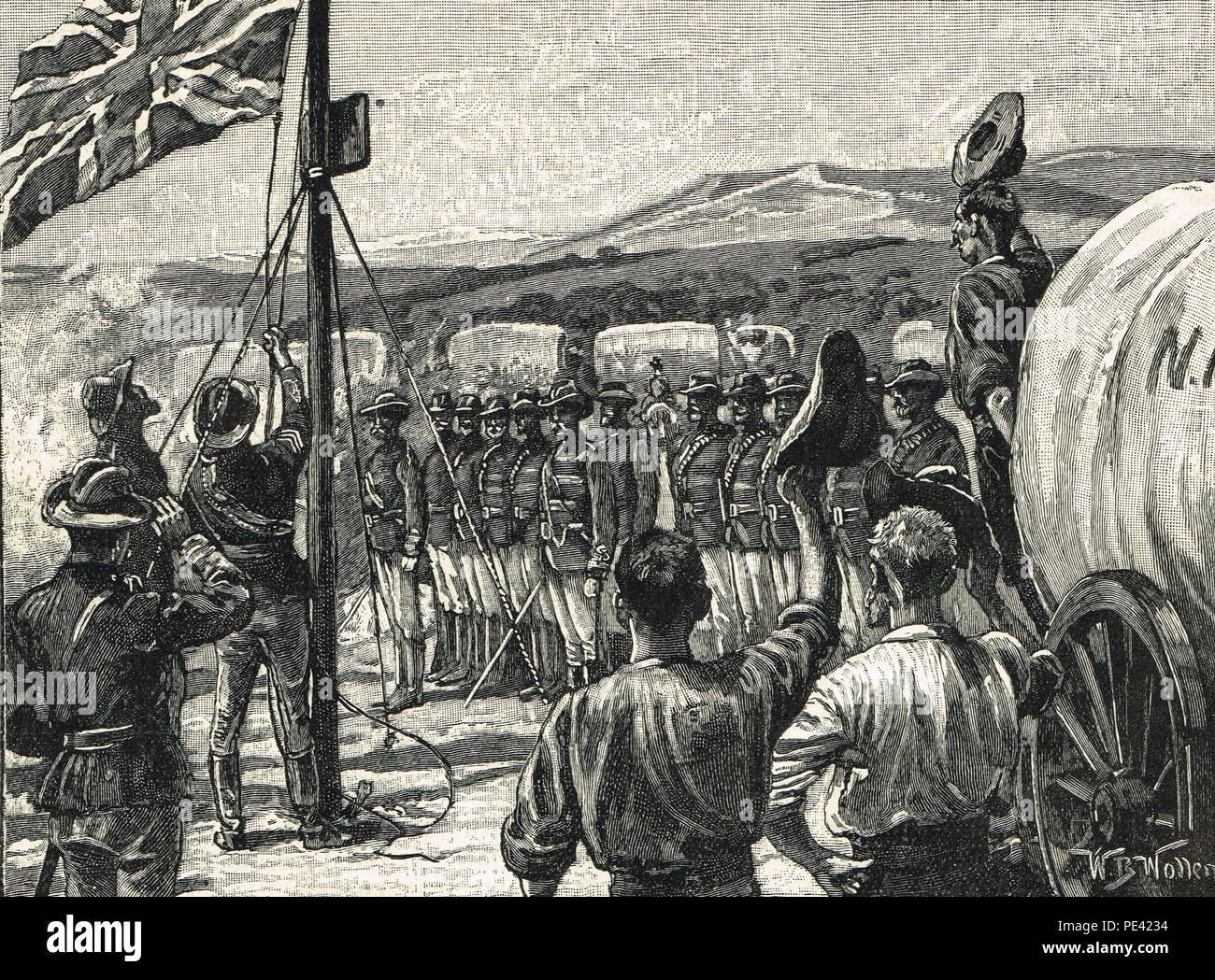 The Pioneer Column in Mashonaland in 1890. A force raised by Cecil Rhodes' British South Africa Company to annexe the territory of Mashonaland, later part of Southern Rhodesia, now Zimbabwe. - Stock Image
