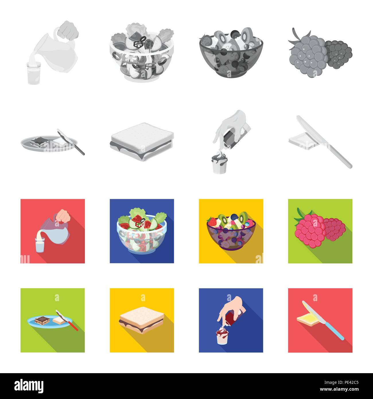 Dessert with cream, a sandwich and other food. Food set collection icons in monochrome,flat style vector symbol stock illustration . - Stock Vector