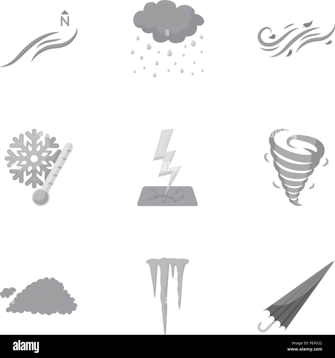 Weather set icons in monochrome style. Big collection of weather vector symbol stock - Stock Vector
