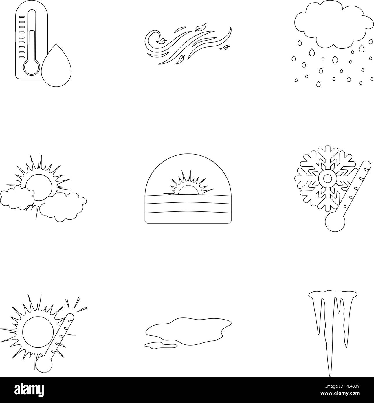 Weather set icons in outline style. Big collection of weather vector symbol stock - Stock Vector