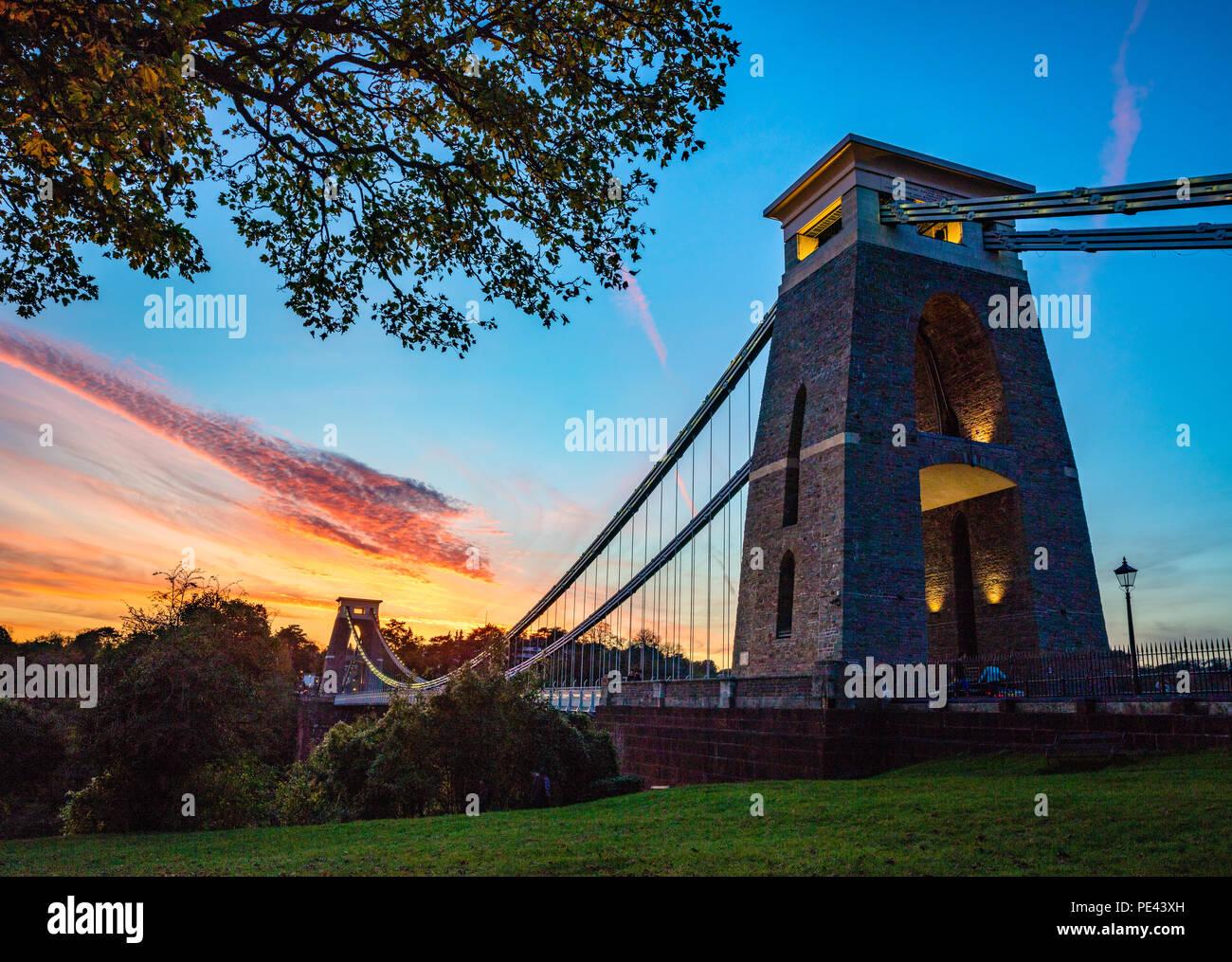 Clifton suspension bridge at dusk - Bristol UK - Stock Image