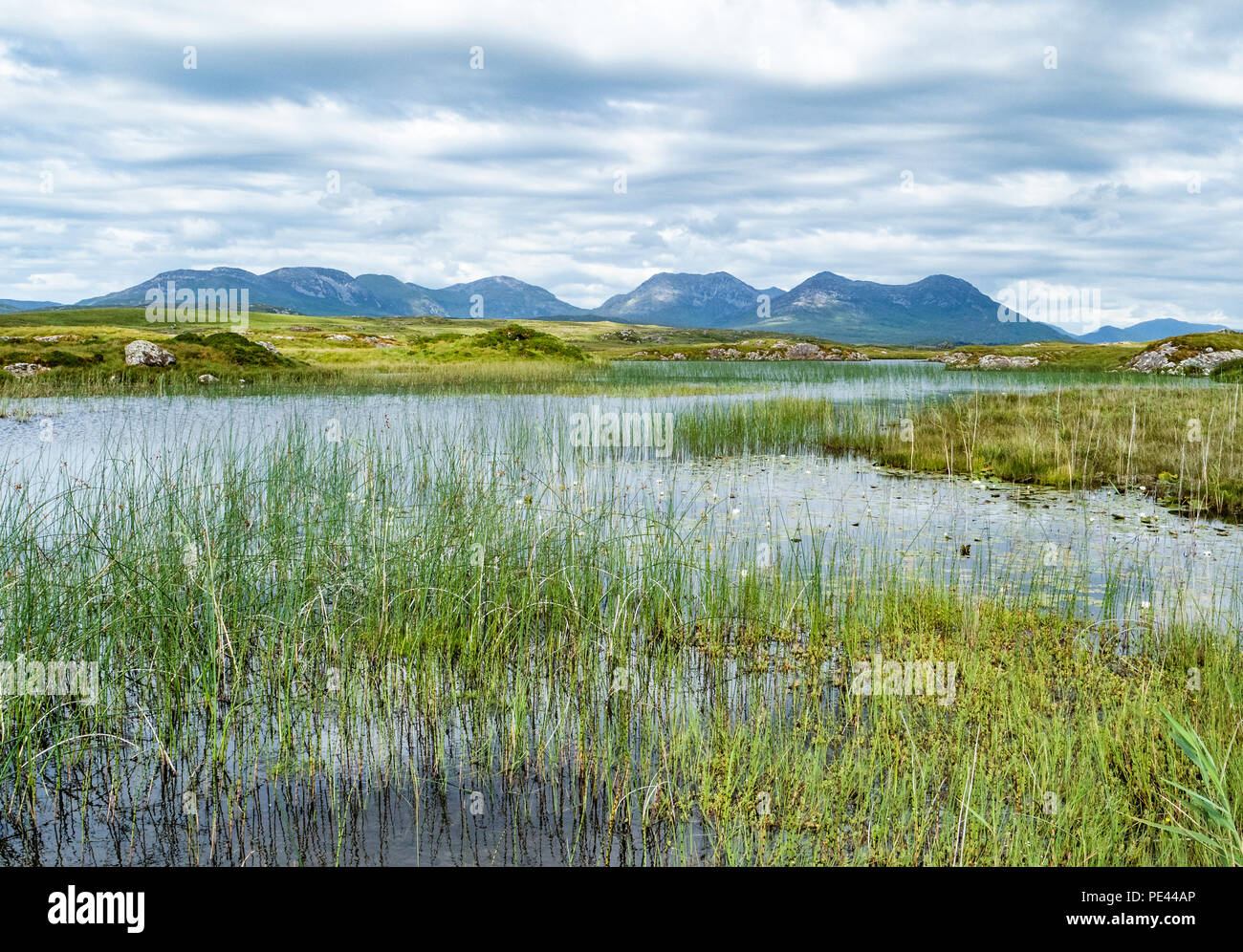 The Twelve Pins or Bens from Lough Cloonagat on the Clifden bog road in Connemara County Galway Ireland - Stock Image