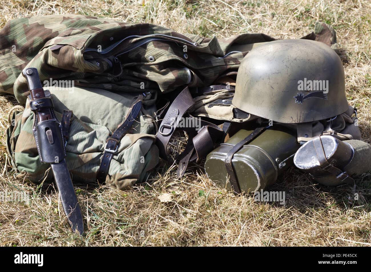 German army field kit - Stock Image
