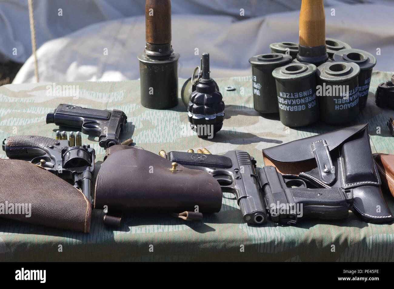 German grenades and handguns on display - Stock Image