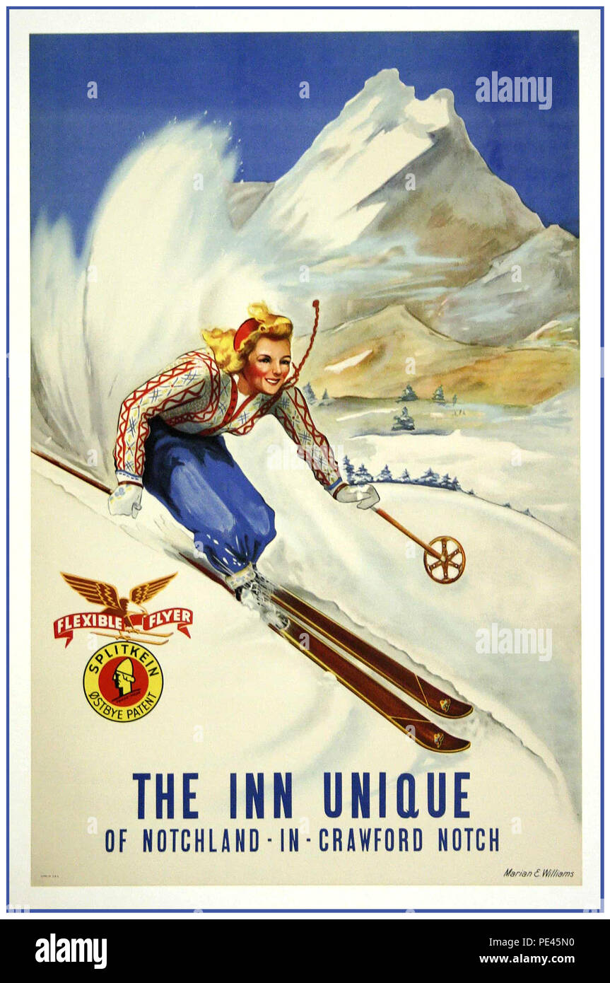 "Vintage Skiing Travel Poster USA The Inn Unique of Notchland in Crawford Notch. Vintage Skiing/Travel Tourism poster for ""Inn Unique""of Notchland in Crawford Notch New Hampshire USA. - Stock Image"