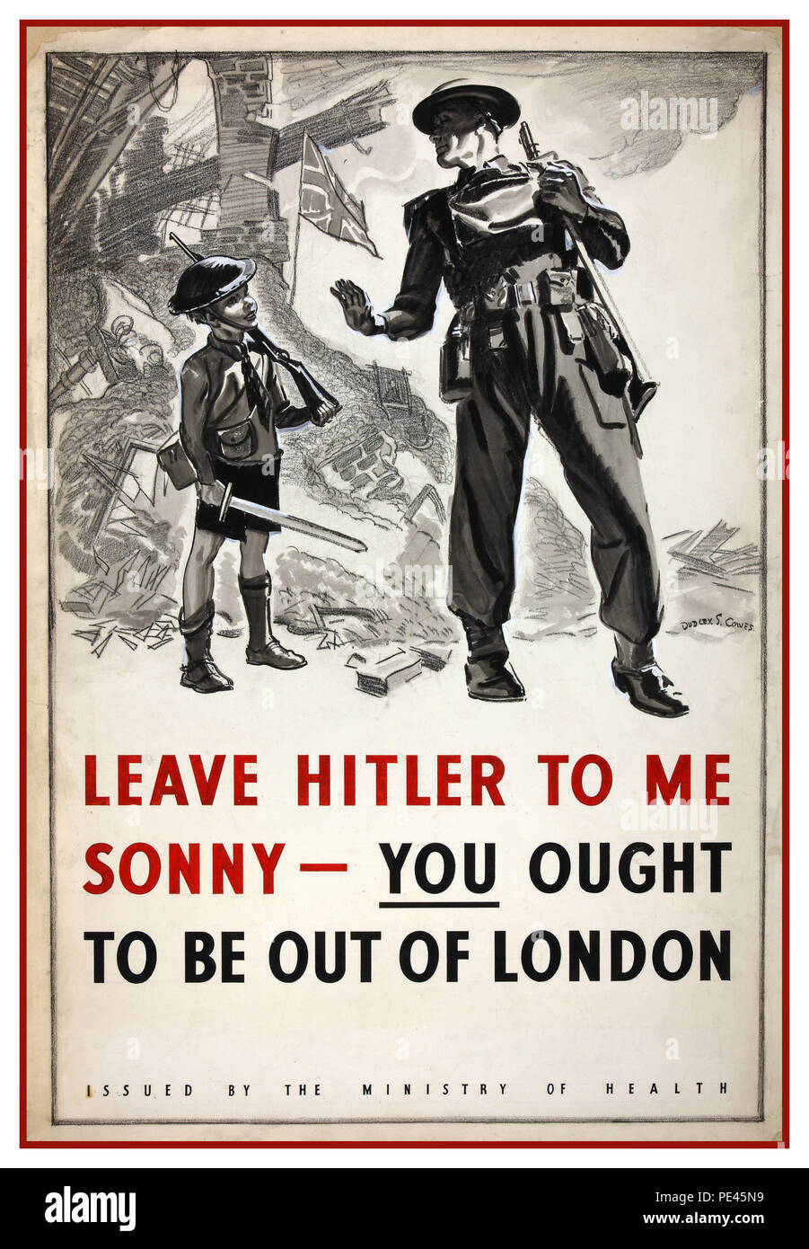 Vintage British WW2 World War II Propaganda Poster A poster designed for the Ministry of Health in the latter part of 1940 to reinforce the message that children should be evacuated out of London. The background to the poster shows a 'blitzed' street with the Union Flag flying defiantly from the rubble. - Stock Image