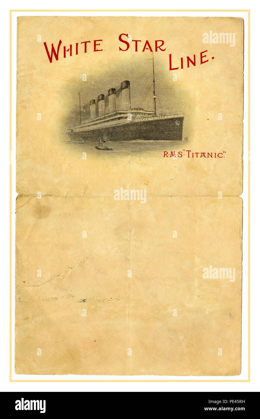 WHITE STAR LINE RMS TITANIC Writing paper with letterhead 'White Star Line R.M.S. Titanic' containing an image of the ship. Blank R.M.S Titanic stationery 1912 - Stock Image