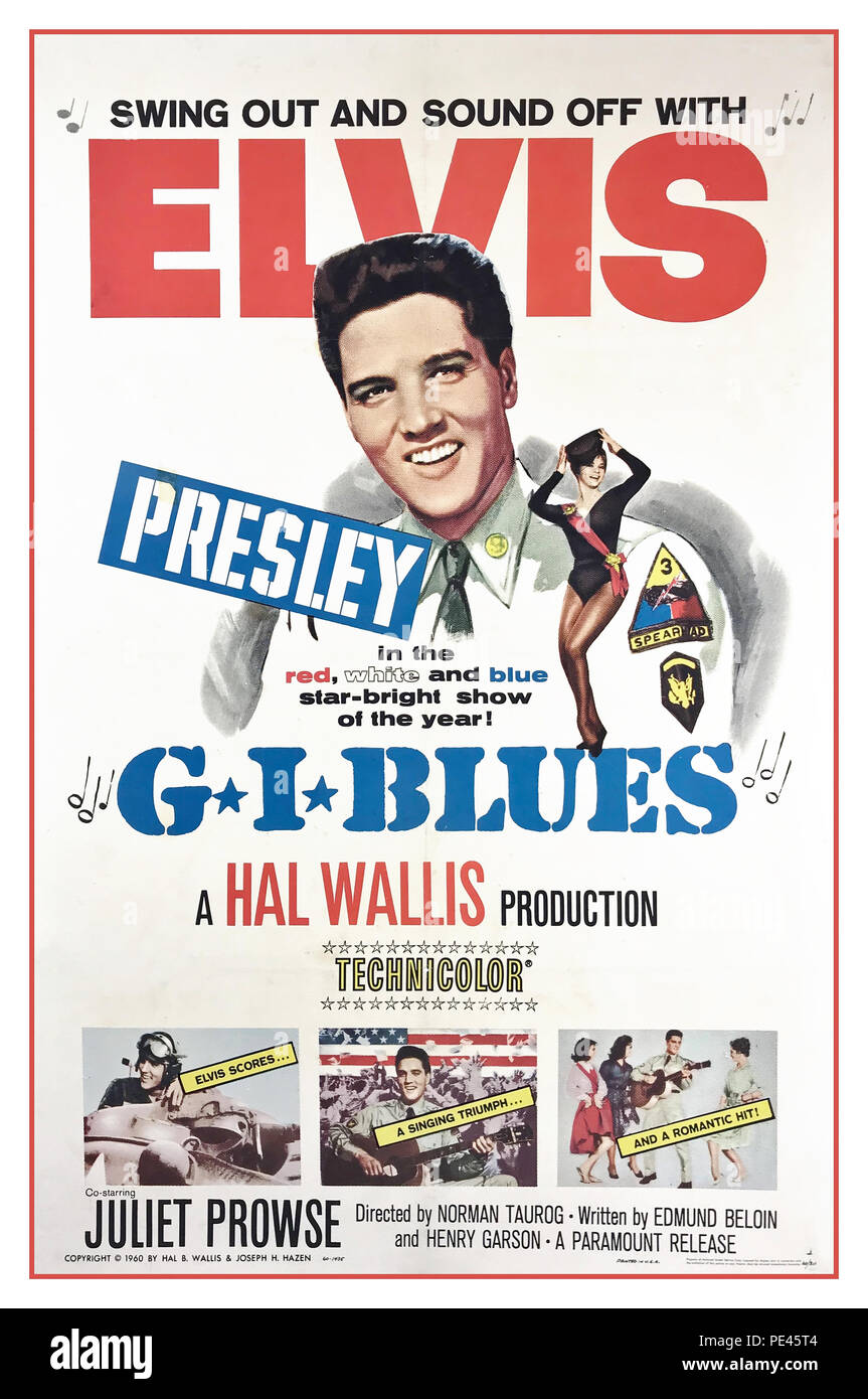 ELVIS PRESLEY G.I.BLUES Vintage Film poster for G.I. Blues a 1960 American musical comedy film directed by Norman Taurog and starring Elvis Presley, Juliet Prowse, and Robert Ivers - Stock Image