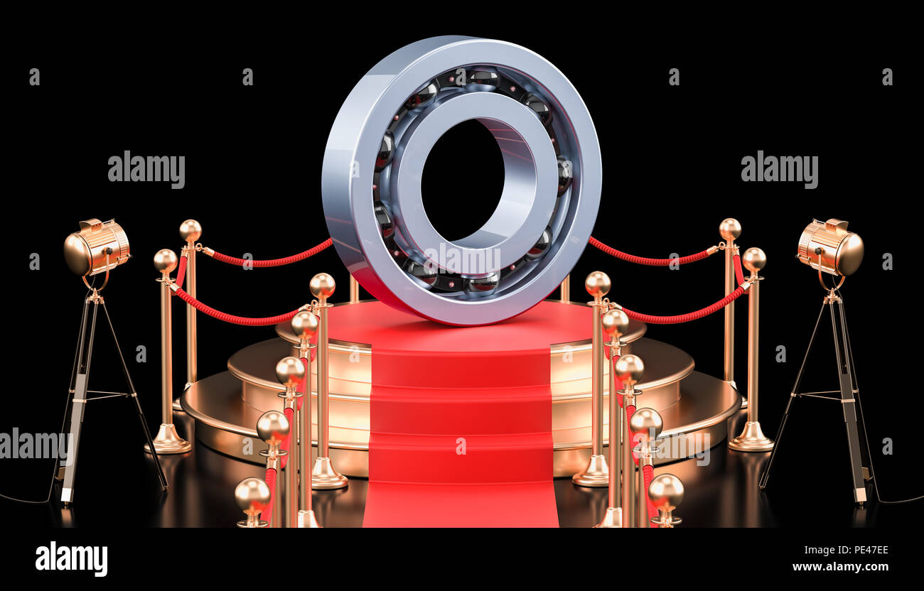 Podium with ball-bearing. 3D rendering isolated on black background - Stock Image