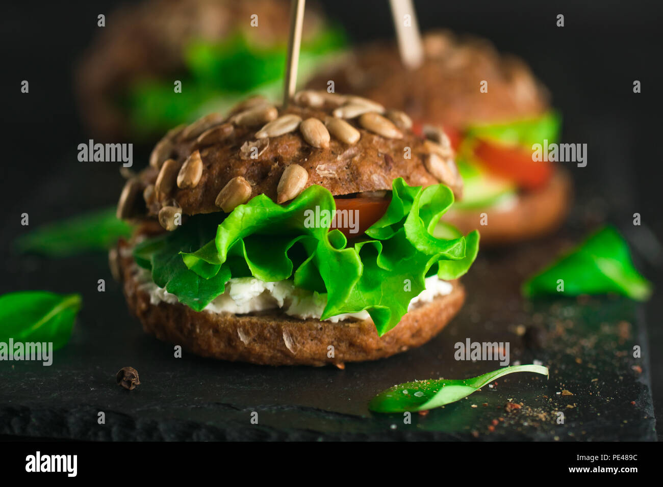 Green sandwich with salad, tomatoes, cucumbers and cream cheese on concrete desk. - Stock Image