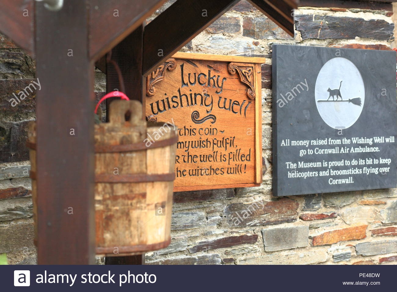 A quirky Wishing Well at Boscastle, North Cornwall, UK. Summer August 2018 - Stock Image