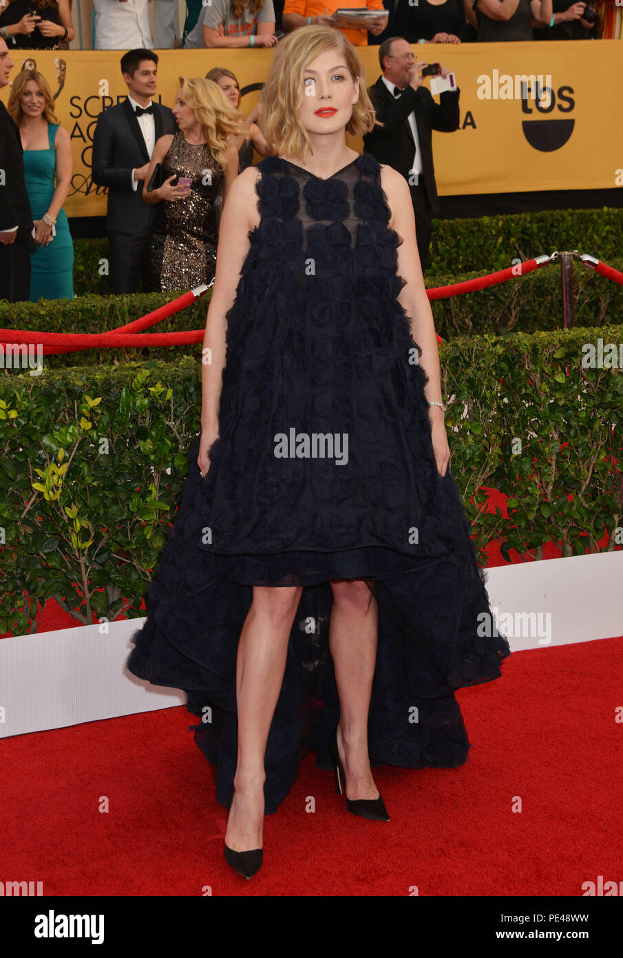 Rosamund Pike 276 at the 21Th SAG Awards 2015 at the Shrine Auditorium in Los Angeles. January 25, 2015.Rosamund Pike 276  Event in Hollywood Life - California, Red Carpet Event, USA, Film Industry, Celebrities, Photography, Bestof, Arts Culture and Entertainment, Topix Celebrities fashion, Best of, Hollywood Life, Event in Hollywood Life - California, Red Carpet and backstage, movie celebrities, TV celebrities, Music celebrities, Topix, Bestof, Arts Culture and Entertainment, vertical, one person, Photography,   Fashion, full length, 2015 inquiry tsuni@Gamma-USA.com , Credit Tsuni / USA, - Stock Image