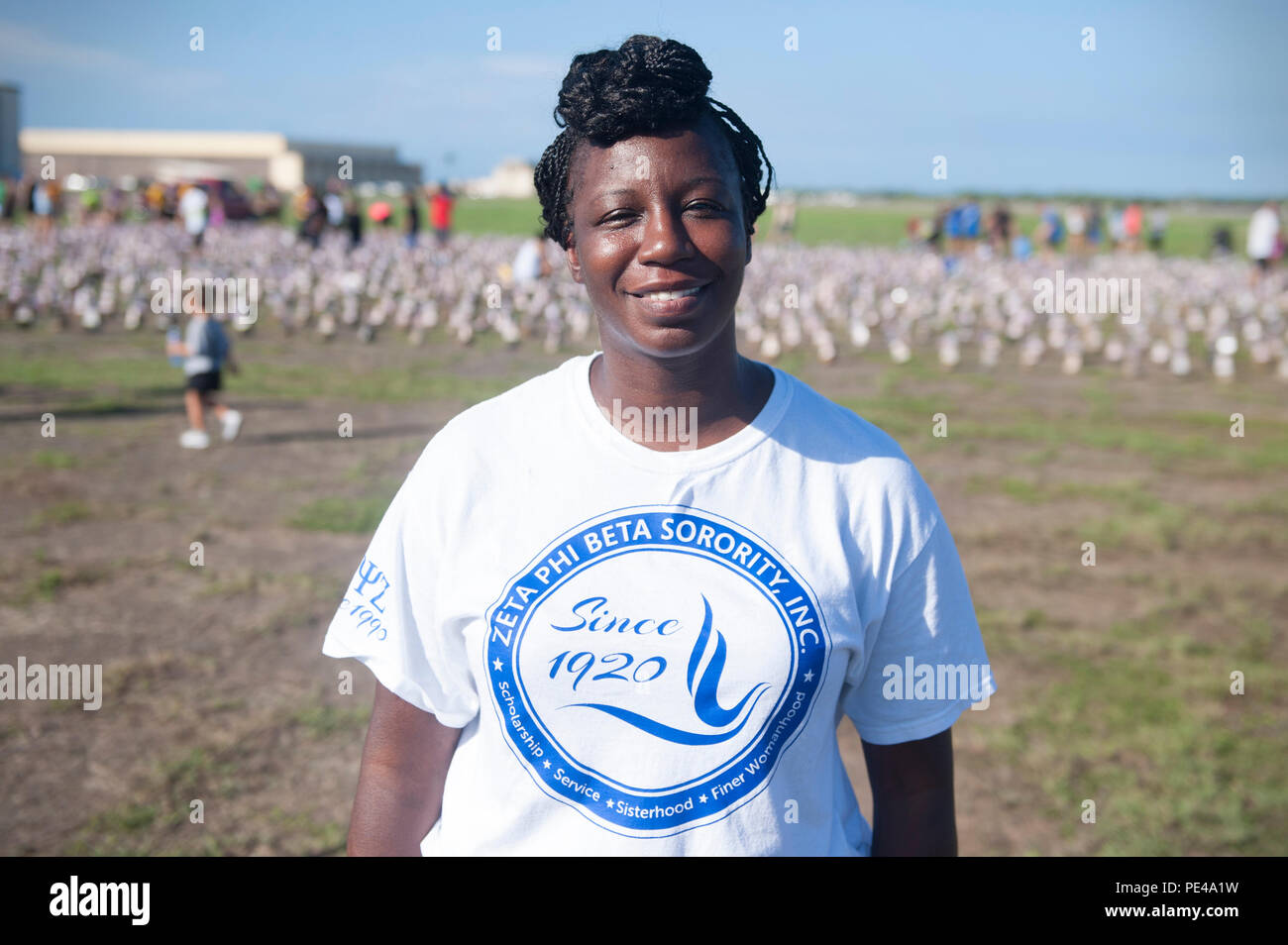 "U.S. Army Master Sgt. Celestine Jackson, Pacific Health Command senior career counselor, participates in the Fisher House Hero and Remembrance Run, Walk or Roll event held at Ford Island to honor fallen service members Sept. 5, 2015, at Joint Base Pearl Harbor-Hickam, Hawaii. ""My first year coming here it was an opportunity for me to pay homage to those soldiers who paved the way for us and who paid the ultimate sacrifice,' Jackson said. 'The first year when we were putting the pictures on the boots, at about the 30th boot in, I got to a personal friend's boot and it was just so overwhelmingly - Stock Image"