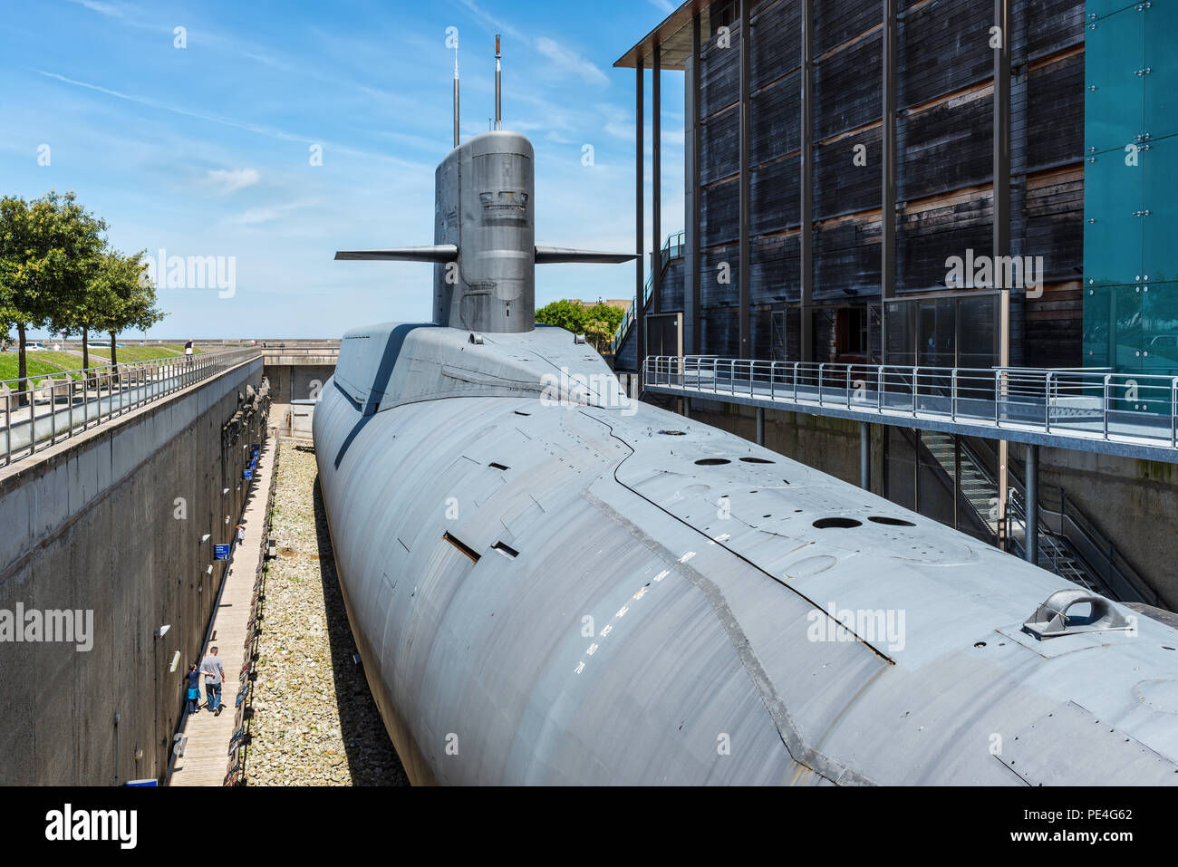 Cherbourg-Octeville, France - May 22, 2017: Nuclear submarine Le Redoutable of French Navy in the 'Cite de la Mer' (City of the Sea), maritime museum  - Stock Image