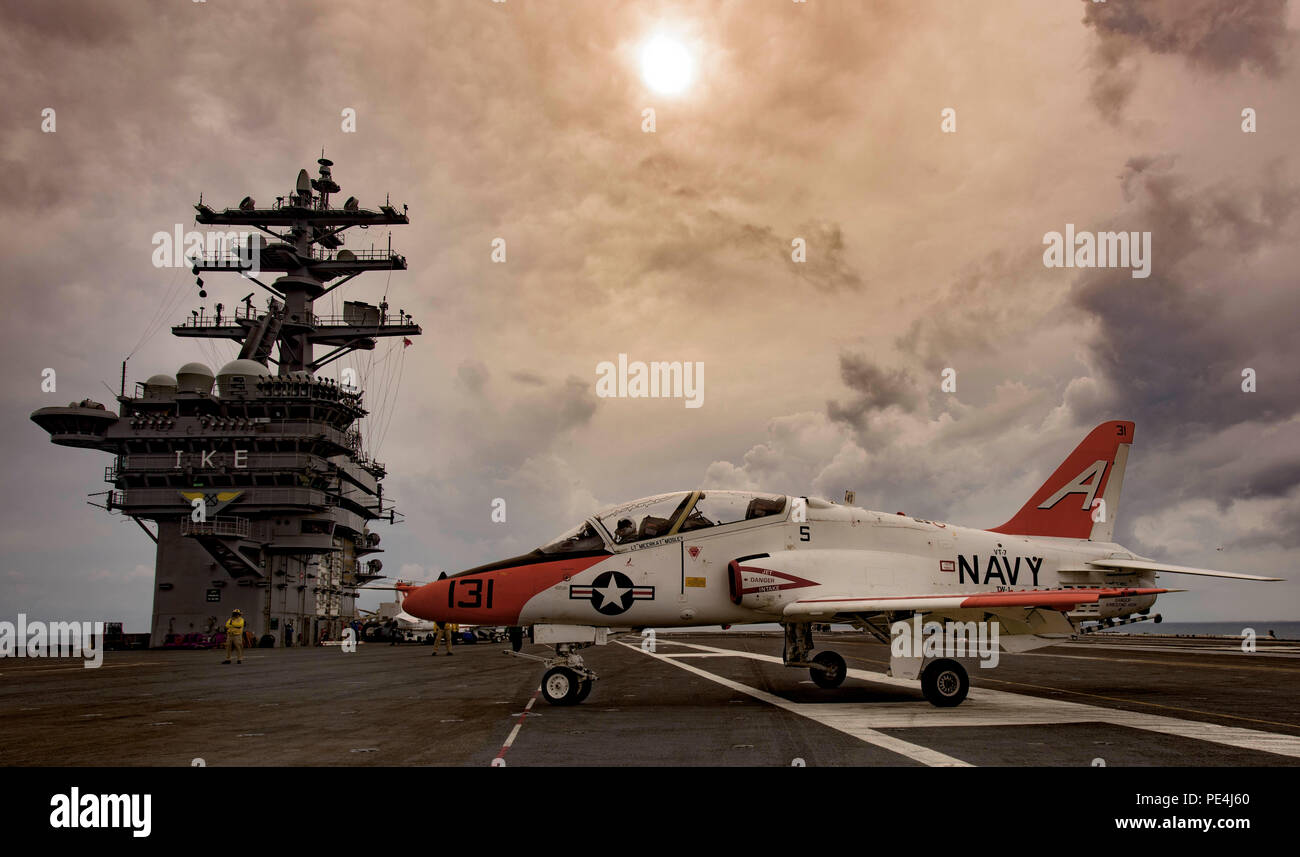 150916-N-OR652-274    ATLANTIC OCEAN (Sept. 16, 2015) – A T-45C Goshawk attached to Training Air Wing (CTW) 1 taxies across the flight deck of the aircraft carrier USS Dwight D. Eisenhower (CVN 69). Dwight D. Eisenhower is underway conducting carrier qualifications. (U.S. Navy photo illustration by Mass Communication Specialist 3rd Class J. Alexander Delgado/Released) - Stock Image