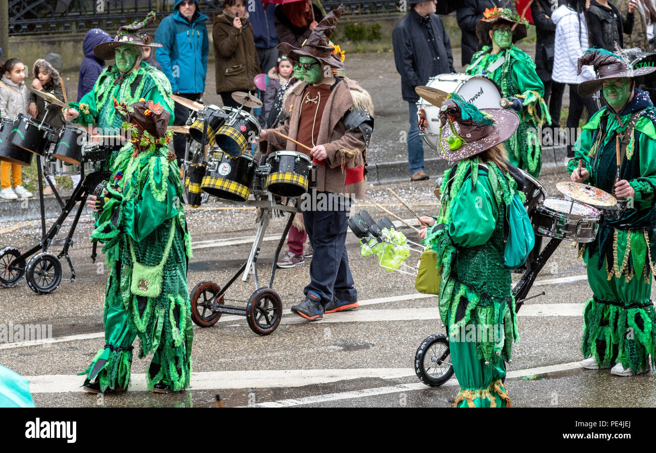 Stallkrawller Guggemusik German marching band, Strasbourg carnival parade, Alsace, France, Europe, - Stock Image