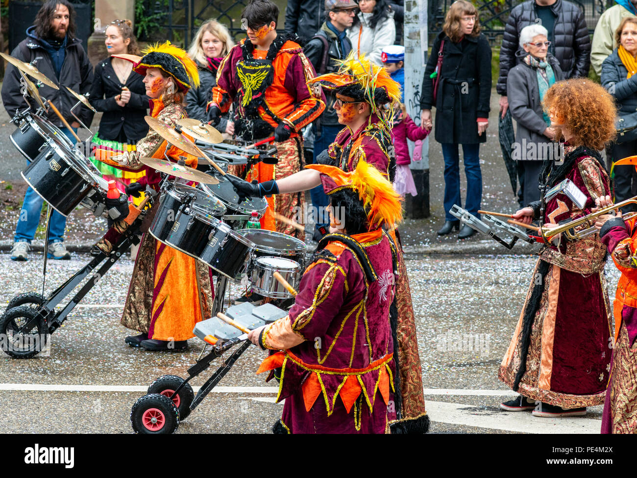 Phoenixkrechzer Guggemusik Ramstein, German marching band, Strasbourg carnival parade, Alsace, France, Europe, - Stock Image