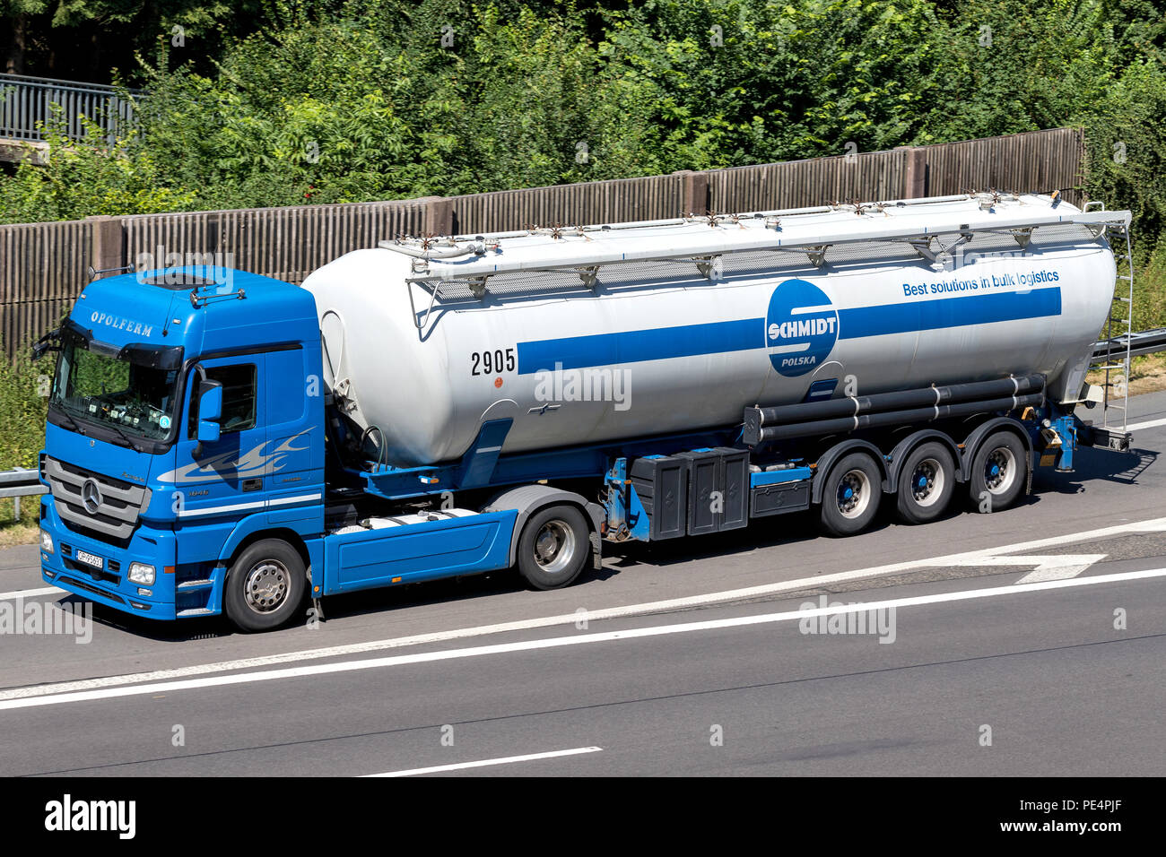 Schmidt Polska truck on motorway. Schmidt Polska is the Polish subsidiary of German Karl Schmidt Spedition with more than 160 vehicles. - Stock Image