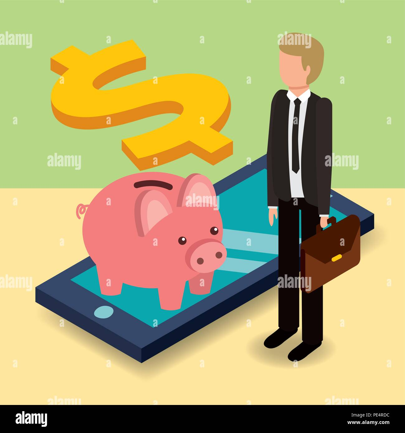 businessman and piggy bank with cellphone dollar money isometric - Stock Image