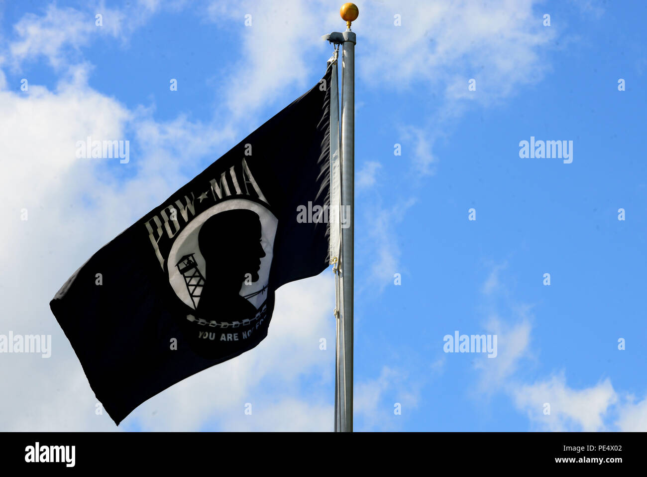 The Prisoner of War/Missing in Action flag waves during the Joint
